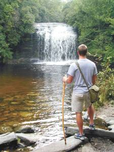 Hiker at Schoolhouse Falls
