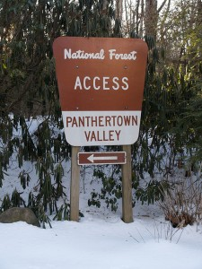 Panthertown Access Sign in Snow