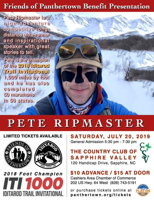 Poster for Pete Ripmaster - July 20, 2019 more info at friends@panthertown.org