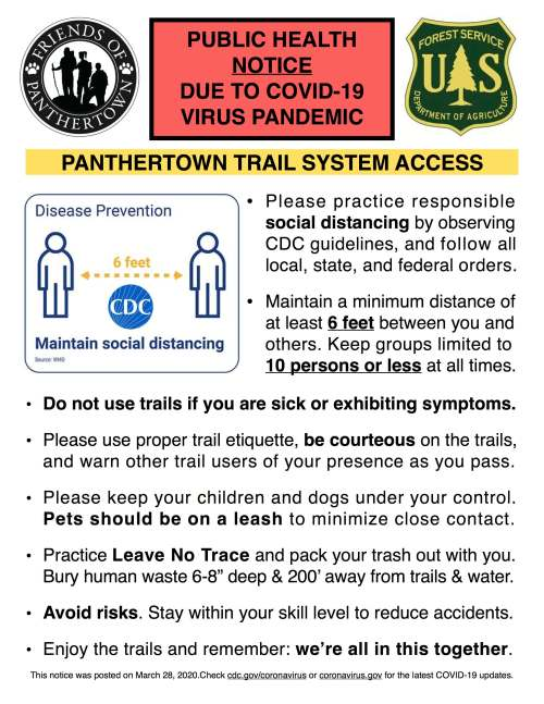 Panthertown COVID-19 Notice March 28